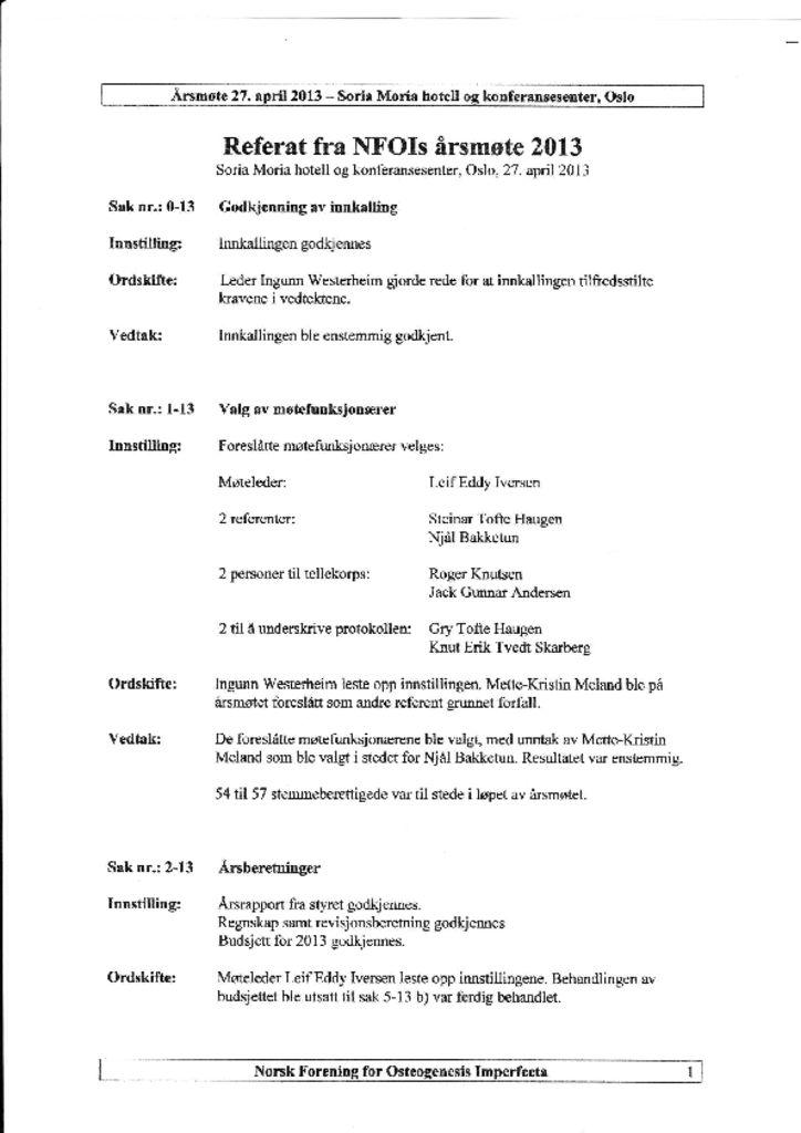thumbnail of Referat NFOIs årsmøte 2013