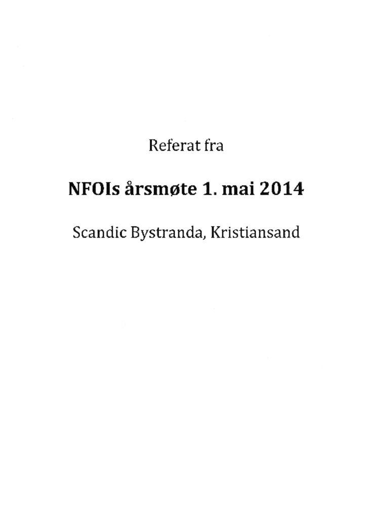 thumbnail of Referat NFOIs årsmøte 2014