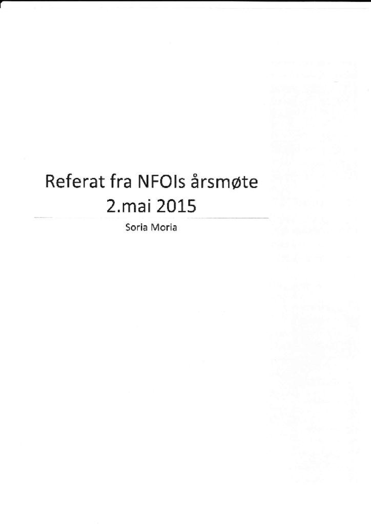 thumbnail of Referat NFOIs årsmøte 2015